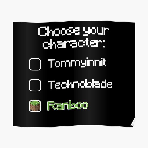 Choose your character - Ranboo (2) Poster RB2805 product Offical Ranboo Merch